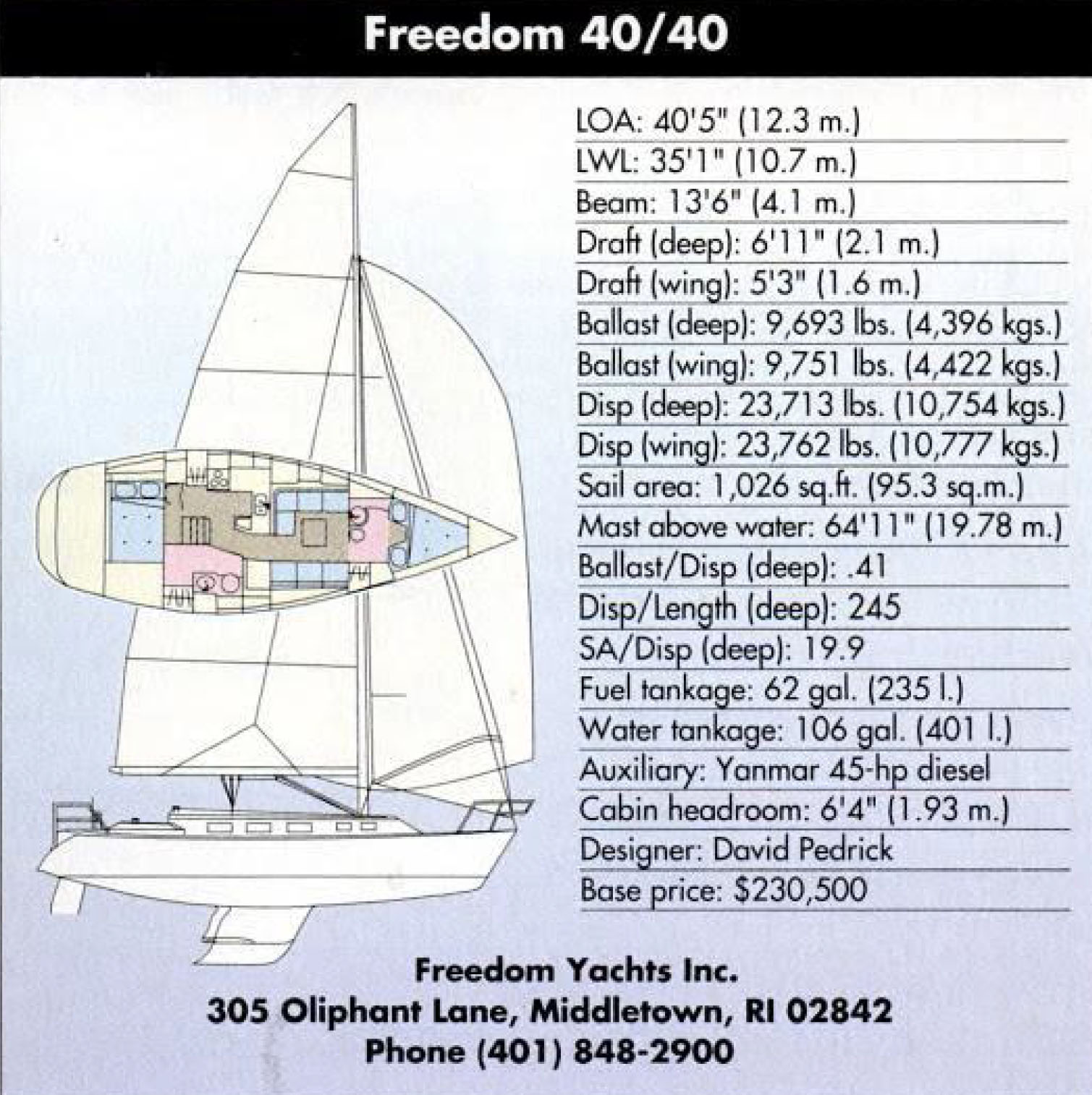 Freedom 40-40 Specifications