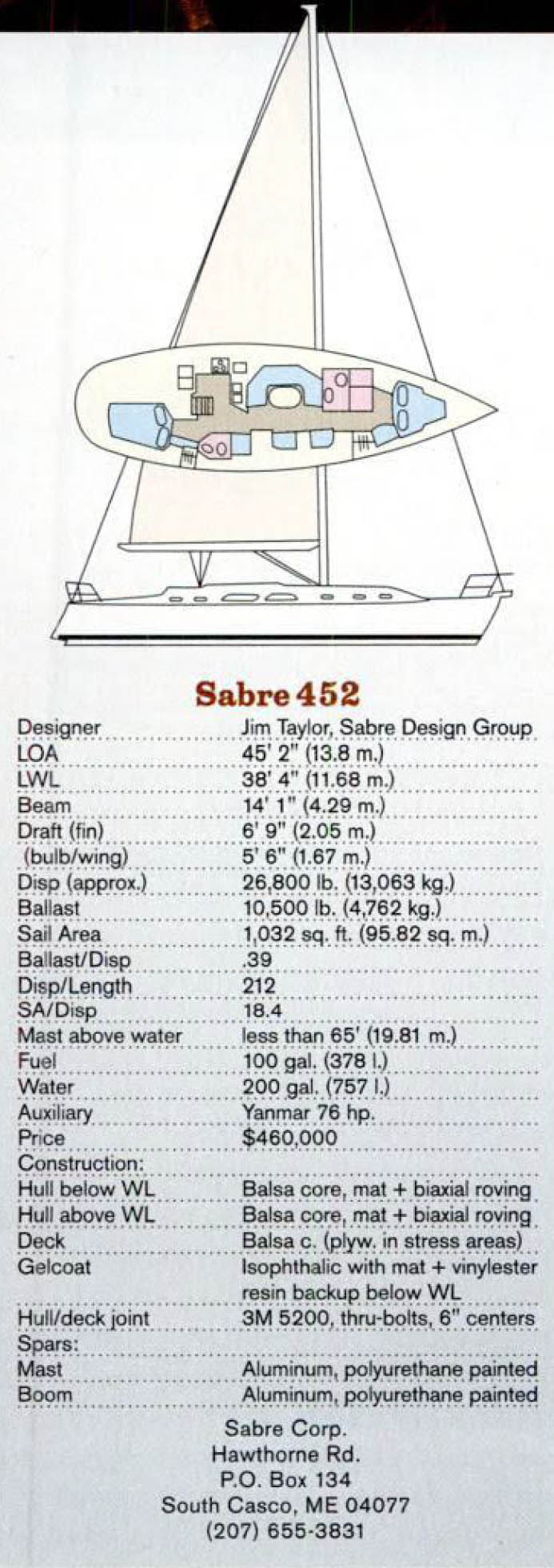 Sabre 452 Specifications