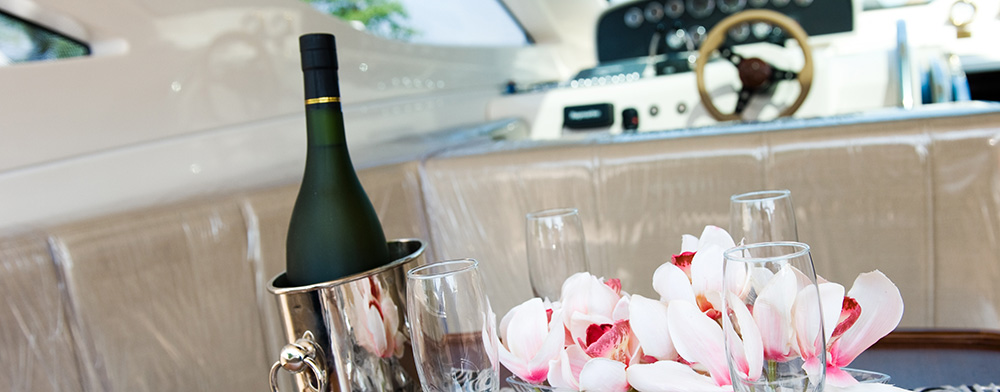 Champagne on a Power Boat