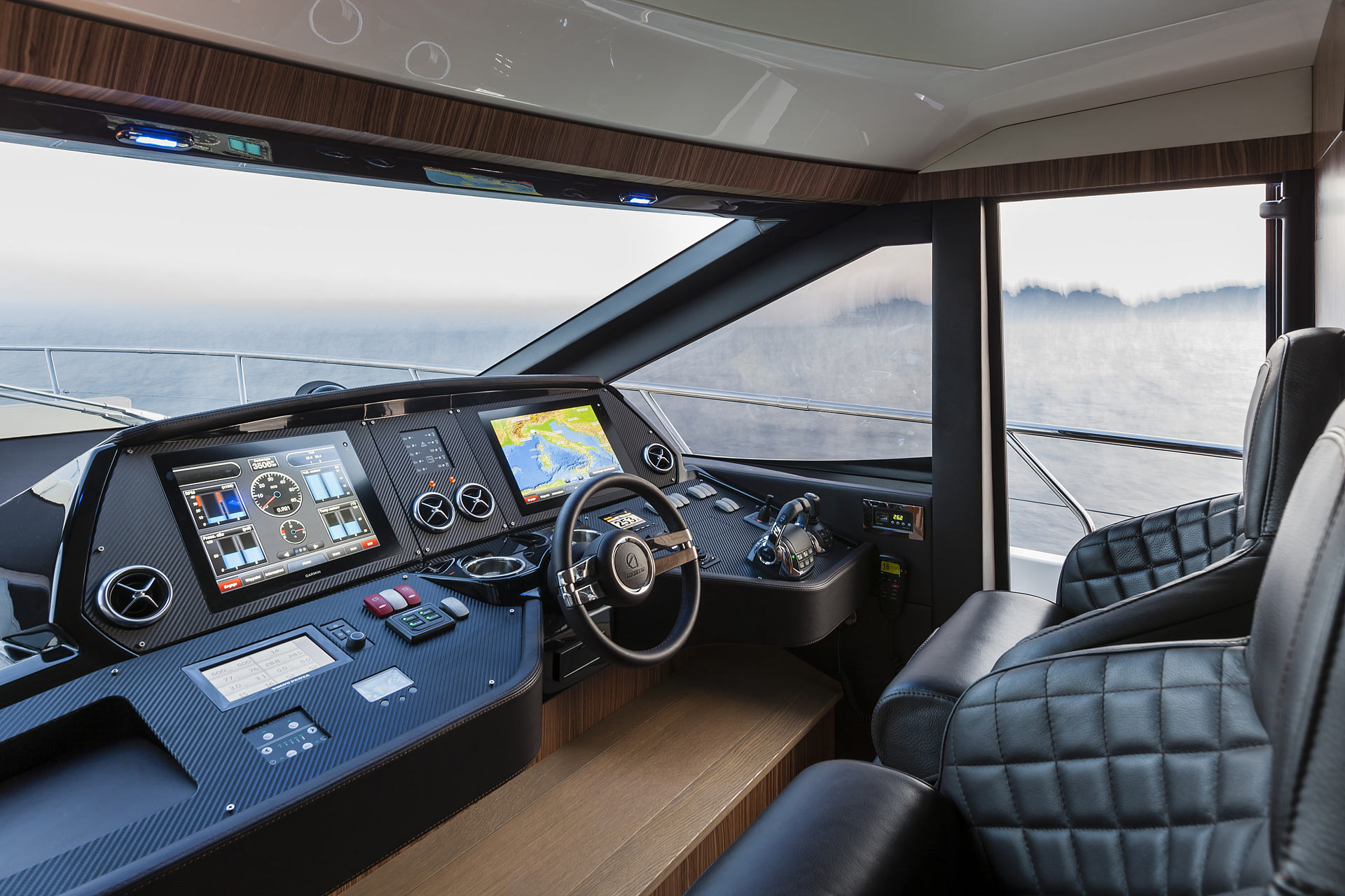 Absolute 60 Fly Luxury Yacht Helm Controls