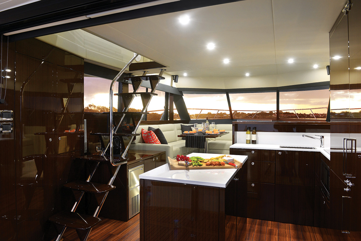 Maritimo M51 Enclosed Flybridge Yacht Interior Galley