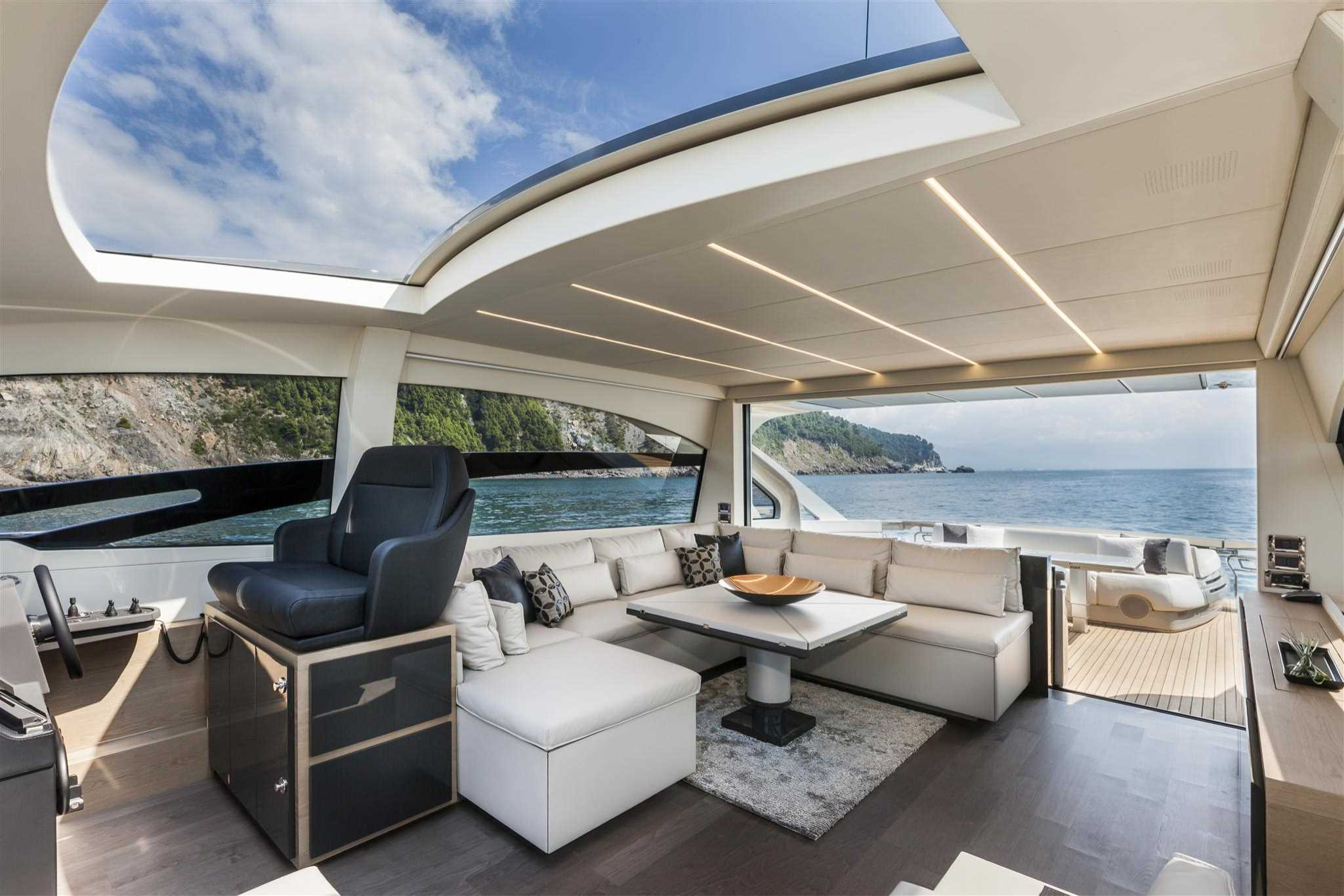 2018 Ferretti Group Pershing 70 Luxury Yacht Interior Salon