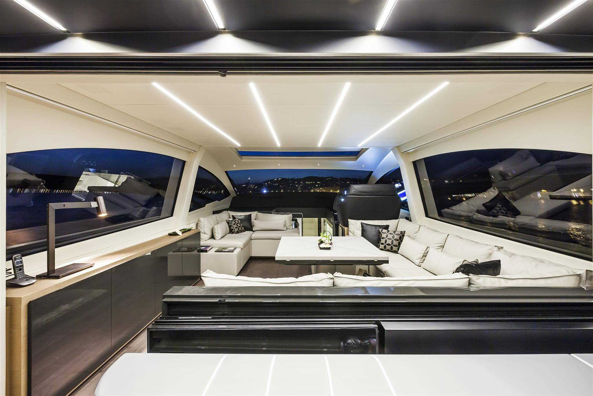 2018 Pershing 70 Luxury Yacht Salon at night