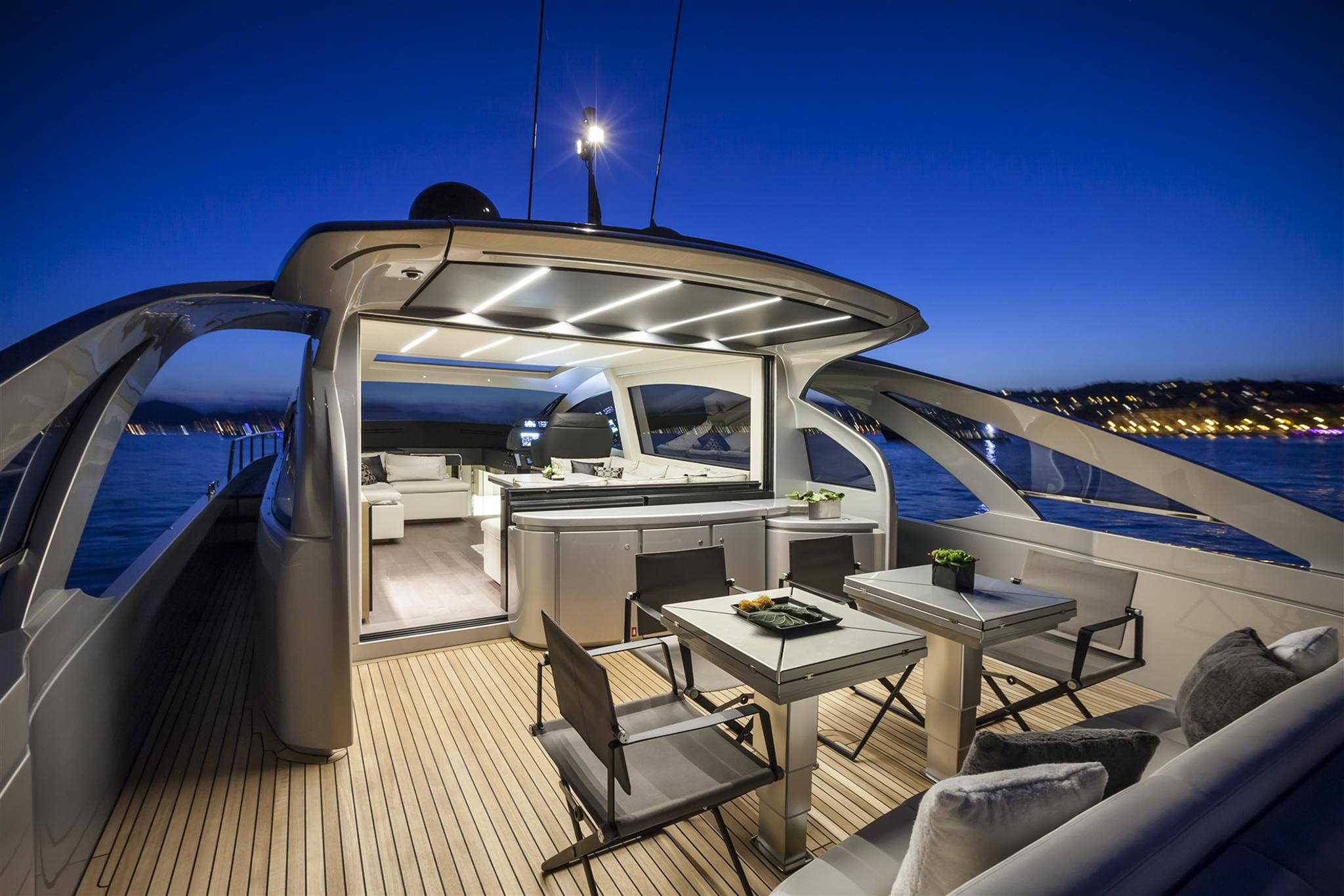 2018 Pershing 70 Yacht Cockpit at night